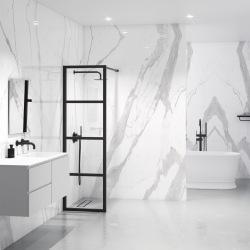 Industrielles Gehäuse aus schwarzem Stahl für das Badezimmer 4D