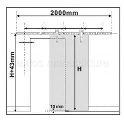 Schiebe-Schiebesystem aus Stahl, schwarz, für zwei Türflügel