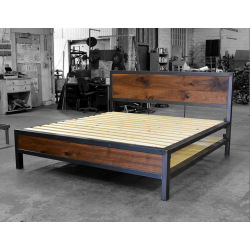 Industrielles Metallbett aus Stahl und Holz - Rita